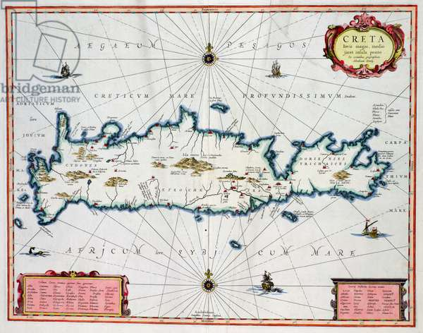 Map showing the Island of Crete, c.1570 (coloured engraving)