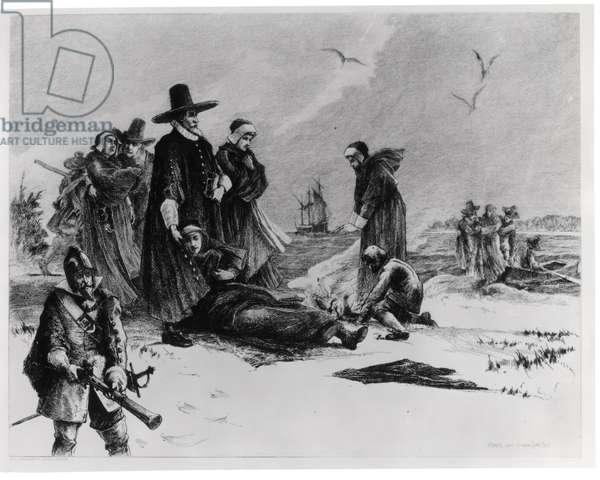 Pilgrims (engraving) (b/w photo)