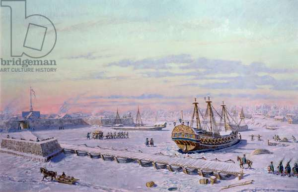 First Wintering of the Russian Ships in St. Petersburg, 1989 (oil on canvas)