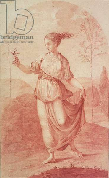 A Young Woman walking bare-footed in a Landscape (drawing)