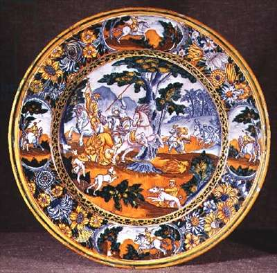 Nevers dish depicting a hunting scene adapted from two prints by Antonio Tempesta, c.1660 (faience)