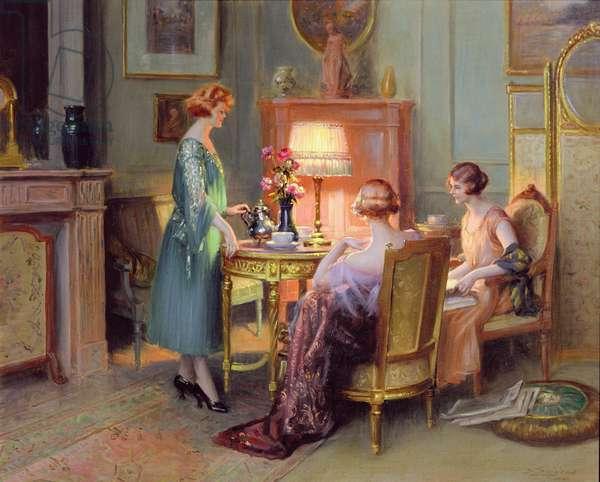 Tea by Lamplight (oil on canvas)