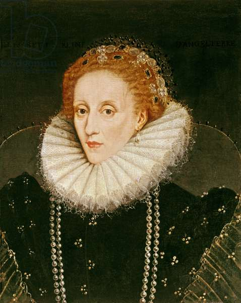 Portrait of Queen Elizabeth I (1533-1603) (oil on panel)