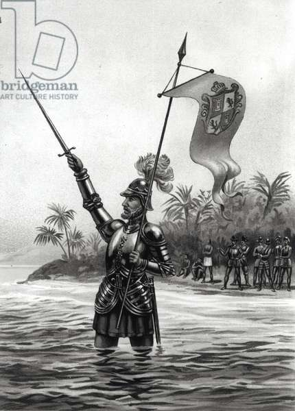 Balboa Claiming Dominion over the South Sea, 25th September 1513, from 'The American Continent and its Inhabitants before its Discovery by Columbus' by Anne C. Cady (litho) 1893 (b&w photo)