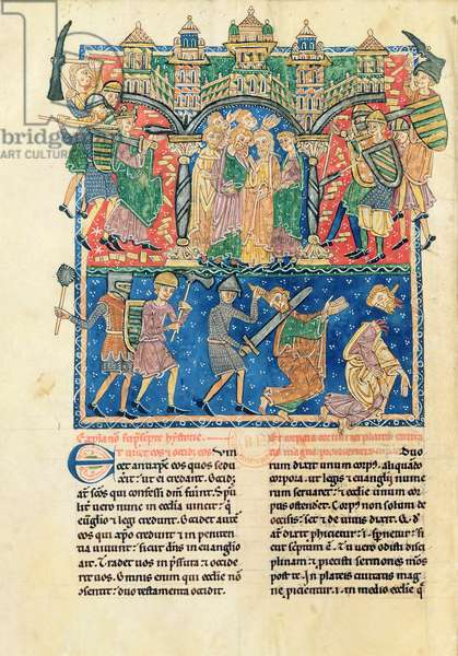 NAL 2290 f106v Soldiers of the Apocalypse, from the 'Commentary on the Apocalypse, (late 12th Century) (vellum)