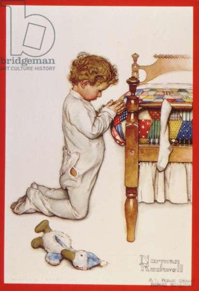 Little Boy Saying his Prayers, Christmas Card