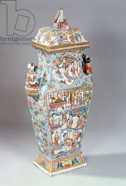 Vase and cover, decorated in famille rose enamels, Chia Ch'ing period (1796-1821) (porcelain)