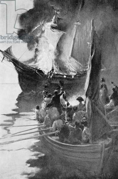 Burning of the 'Gaspee', illustration from 'Colonies and Nation' by Woodrow Wilson, pub. in Harper's Magazine, 1901 (litho)