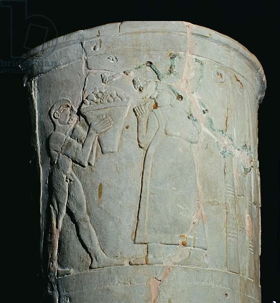 Vase depicting a man carrying a bowl of fruit (earthenware)