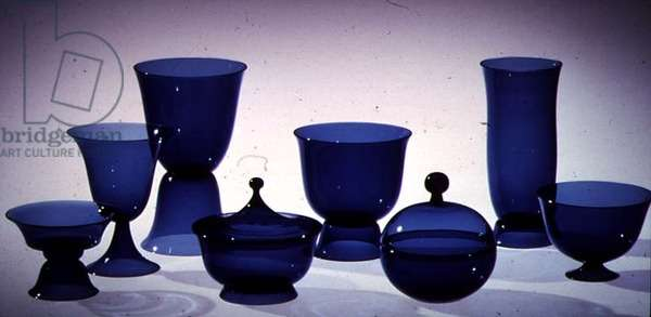 Set of blown tableware, 1915 (glass)
