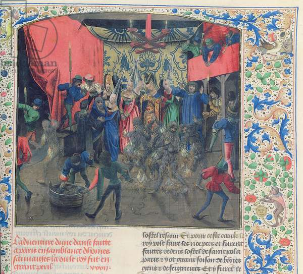 Fr 2646 f.176 Bal des Ardents', Charles being saved by the Duchess of Berry after Louis of Orleans set fire to the dancer's costumes, 1392, from Froissart's Chronicle (vellum)