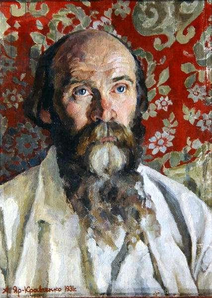 Portrait of Nikolay Klyuyev, 1931 (1884-1937) (oil on canvas)