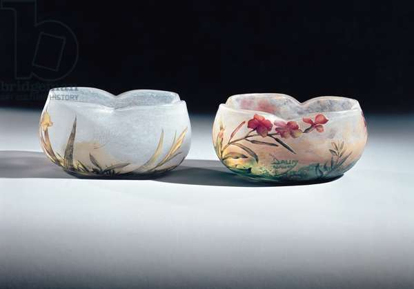Two bowls by Daum, Nancy, France, 1900-6 (enamel painted & acid-etched glass)