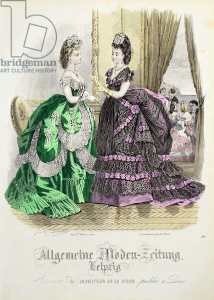 German fashions from Leipzig from 'Moniteur de la Mode', c.1870s (coloured engraving)
