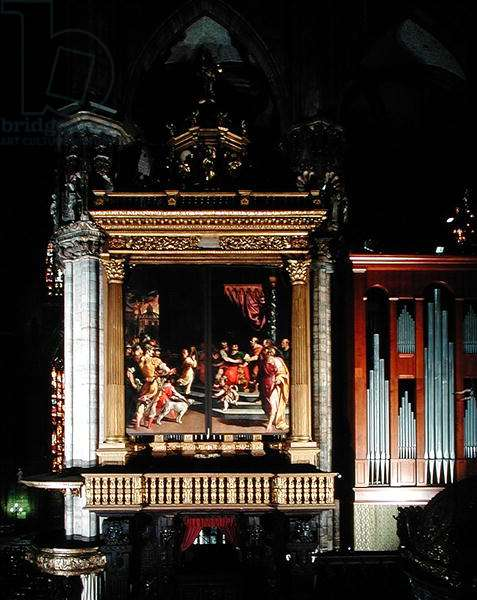 View of The Organ (1559-1602) (oil on panel) made by Giuseppe Meda (fl.1551 d.1599) Ambrogio Giovanni Figino (1548-1608) and Camillo Procaccini (1555-1629)