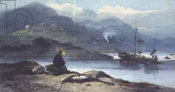 A Chinese River with a Figure on the Bank