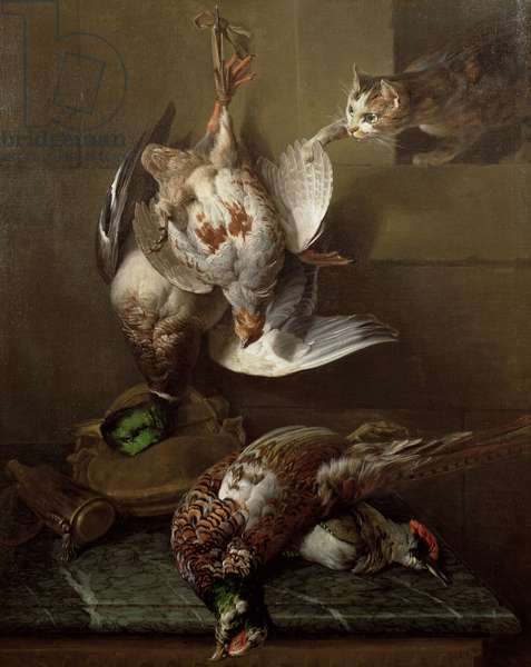 A Cat Attacking Dead Game (oil) (one of a pair, see also 40087)