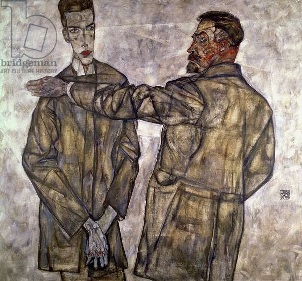 Double Portrait of Otto and Heinrich Benesch, 1913 (oil on canvas)