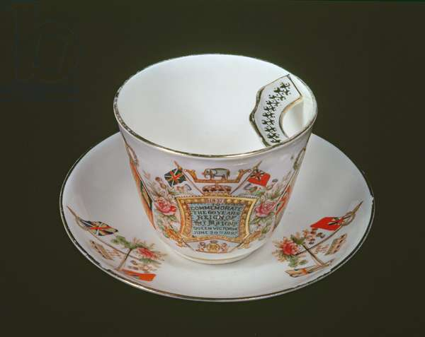 Moustache cup commemorating Victoria's Diamond Jubilee, 1897 (ceramic)