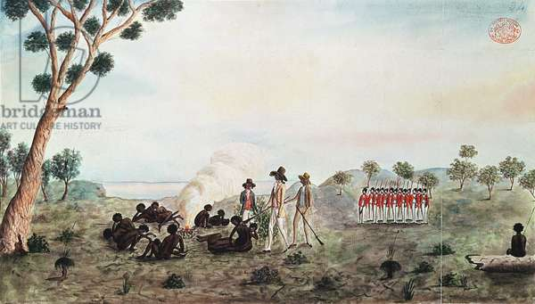 Mr White, Harris and Laing with a Party of Soldiers Visiting Botany Bay Colebee at that Place when Wounded near Botany Bay, c.1790 (w/c on paper)