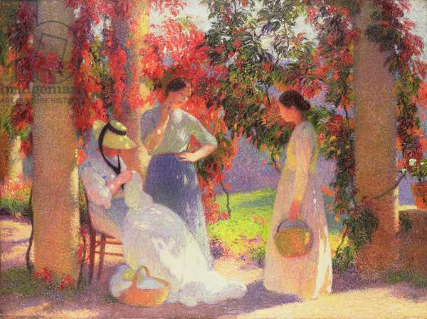 Sewing Scene under the Pergola at Marquayrol, 1902 (oil on canvas)
