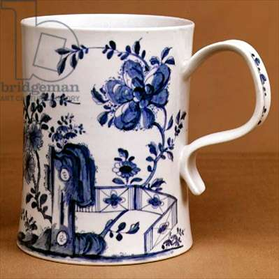 Worcester blue and white tankard, c.1745 (porcelain)