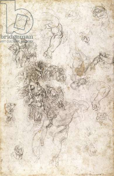 Study of figures for 'The Last Judgement' with artist's signature, 1536-41 (charcoal on paper) (recto)