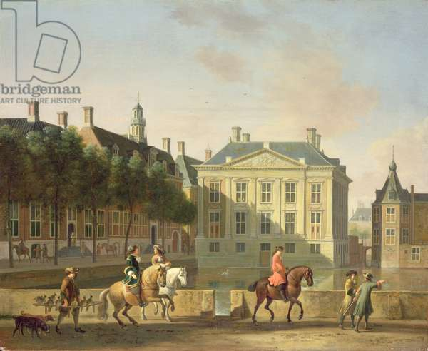 The Mauritshuis from the Langevijverburg, the Hague, with hawking party in the foreground (oil on canvas)