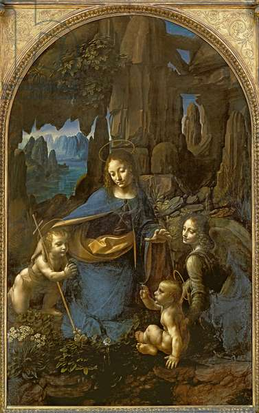 The Virgin of the Rocks (with the Infant St. John adoring the Infant Christ accompanied by an Angel), c.1508 (oil on panel)