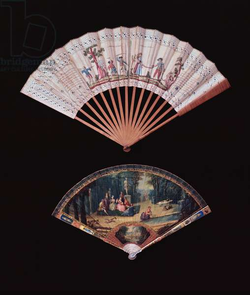 Fan of Vernis Matin type, French, mid-18th century; wooden stick fan, French, c.1780