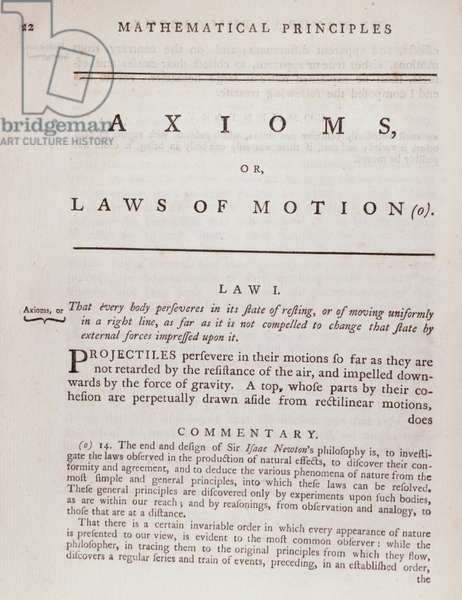 Axioms, or Laws of Motion, from Volume I of 'The Mathematical Principles of Natural Philosophy' by Sir Isaac Newton (1642-1727) 1777 (engraving)