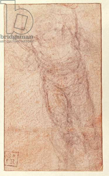 Study for 'The Resurrection', c.1532-34 (red & black chalk on paper) (recto)