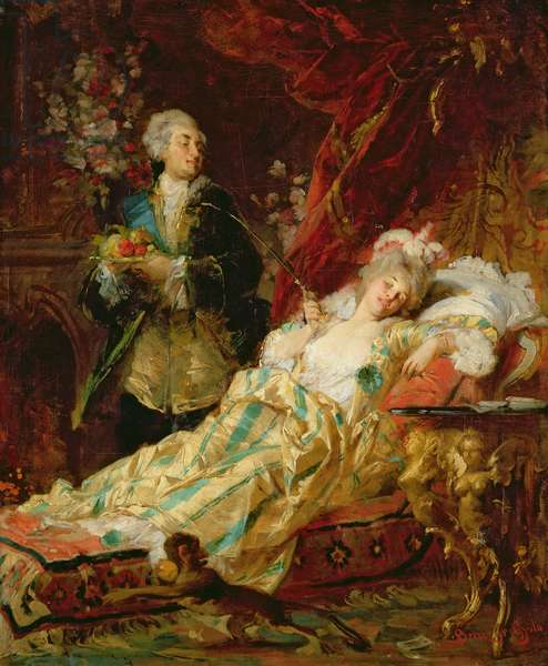 Louis XV and Madame Dubarry (oil on canvas)