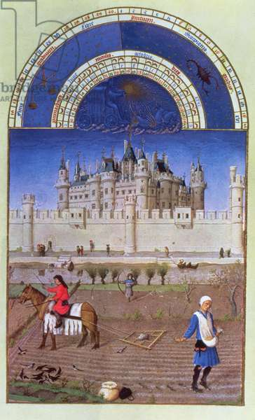Facsimile of October: sowing the winter grain by the Limbourg brothers, from the 'Tres Riches Heures du Duc de Berry' (vellum)