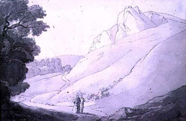 A Hilly landscape with two figures (pen, ink and watercolour)
