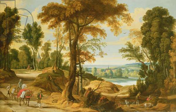 A wooded river landscape with figures on a road
