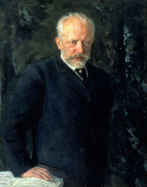 Portrait of Piotr Ilyich Tchaikovsky (1840-93), Russian composer, 1893 (oil on canvas)