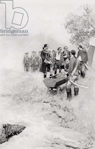 The Burial of Braddock, illustration from 'Colonel Washington' by Woodrow Wilson, pub. in Harper's Magazine, 1896 (litho)