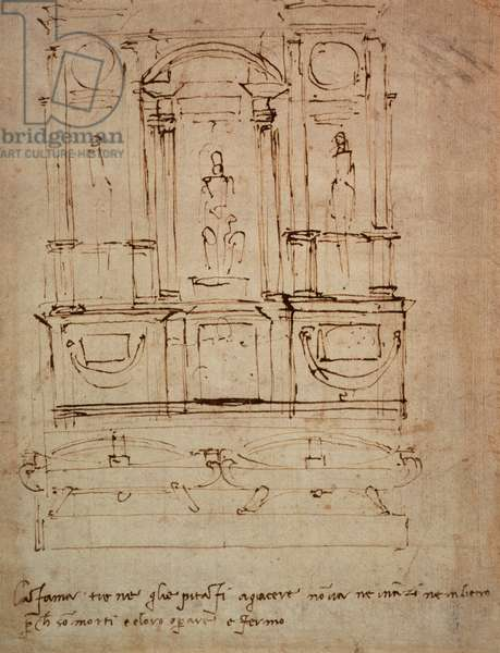 Study for a double tomb for the Medici Tombs in the New Sacristy, 1521 (pen & ink on paper)