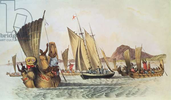 The English being welcomed ashore in the South Seas (engraving)