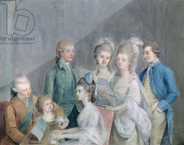 The family of Charles Schaw, 9th Baron Cathcart (1721-76) (pastel on paper)