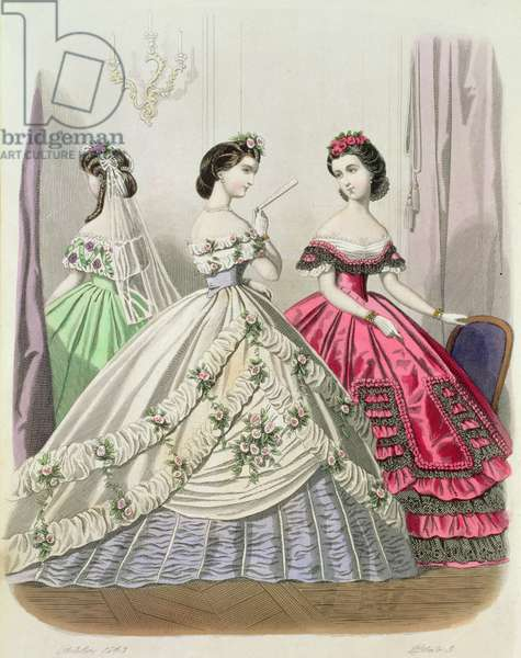 Fashion plate 3, showing crinolines, October 1863 (hand-coloured litho)