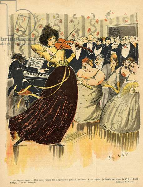 Satire of a salon musical evening from the back cover of 'Le Rire', 17th December 1898 (colour litho)
