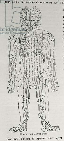 Model for acupuncture, illustration from 'Grandeur and Supremacy of Peking', by Alphonse Hubrecht, 1928 (engraving)