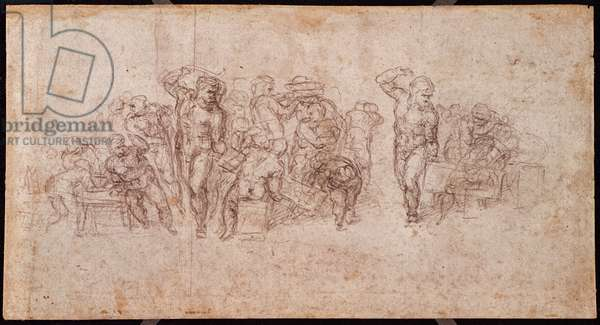 Study of Figures for a Narrative Scene (black chalk on paper) (recto) (for verso see 191764)