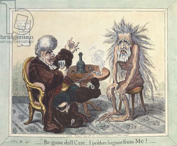 'Begone Dull Care, I Prithee Begone From Me', 1801 (hand-coloured etching)