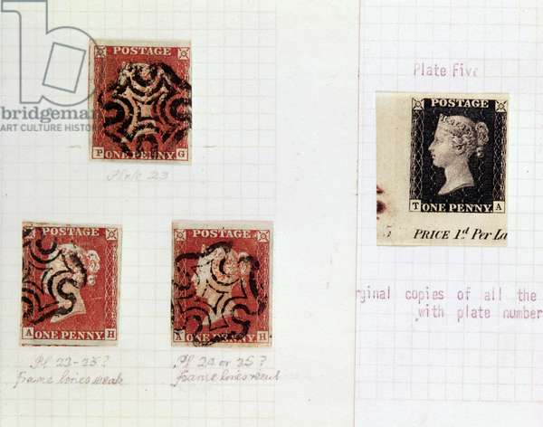 One black and three red one penny postage stamps showing the head of Queen Victoria, 1840 and 1841 respectively (postage stamp)