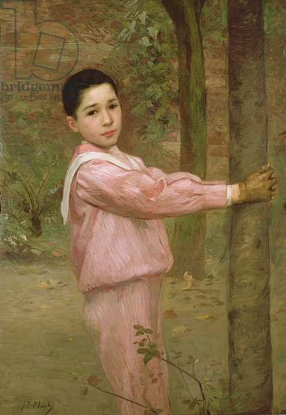 Portrait of a boy in a pink sailor suit