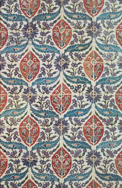 Panel of Isnik earthenware tiles from the baths of Eyup Ensari, Istanbul, c.1550-1600 (ceramic)