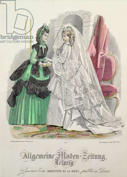 """""""The Bride"""", German Fashions from Leipzig from 'Moniteur de la Mode', c.1870s (coloured engraving)"""